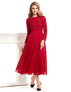 Lanting A-line Mother of the Bride Dress - Burgundy Tea-length Long Sleeve Chiffon / Lace