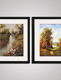 Framed Trees Landscape Painitng Canvas Print Art Set of 2 for Wall Decoration Ready To Hang
