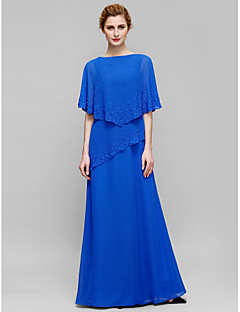 Lanting Sheath/Column Mother of the Bride Dress - Royal Blue Floor-length Sleeveless Chiffon