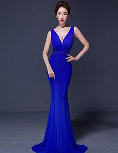 Fiesta formal Vestido - Rojo / Azul Real / Negro Trompeta/Sirena Larga - Cuello en V Jersey