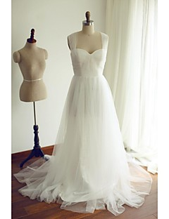 A-line Wedding Dress Sweep / Brush Train Straps Tulle with Ruche / Sequin