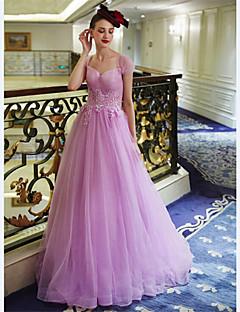 저녁 정장파티 드레스 - 라벤더 A-라인 바닥 길이 스윗하트 명주그물