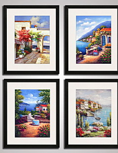 Framed The Mediterranean Landscape Painitng Canvas Print Modern Wall Art Set of 4 Ready To Hang