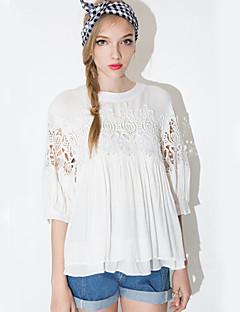Vrouwen Eenvoudig Herfst T-shirt,Casual/Dagelijks Effen Ronde hals Halflange mouw Wit Polyester Medium