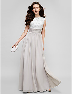 Sheath/Column Mother of the Bride Dress - Floor-length Sleeveless Chiffon