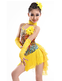 Latin Dance Dresses Children's Performance Spandex Sequined Milk Fiber Tassel(s) 4 Pieces Gloves Dress NeckwearS:63 M:65 L:67 XL:70