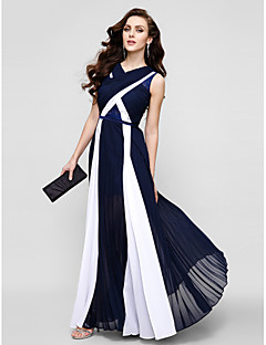 Formal Evening Dress - Plus Size / Petite Sheath/Column V-neck Floor-length Chiffon / Lace