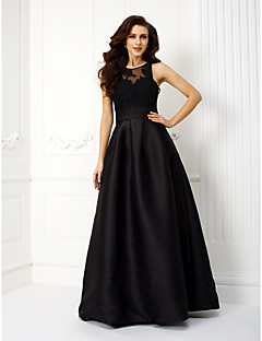 Prom / Formal Evening Dress - Plus Size / Petite A-line Jewel Floor-length Satin