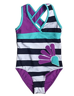 "Girl's Purple 1pc Swimwear , Stripes Polyester Summer Swimsuit with Cross Shoudler ""X"" on the back for 3~9 years girls"