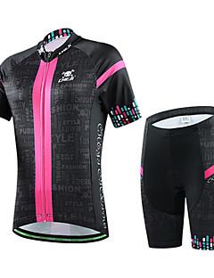 CHEJI® חולצת ג'רסי ומכנס קצר לרכיבה לנשים שרוול קצר אופנייםנושם / ייבוש מהיר / עמיד אולטרה סגול / חומרים קלים / 3D לוח / בד קל מאוד /