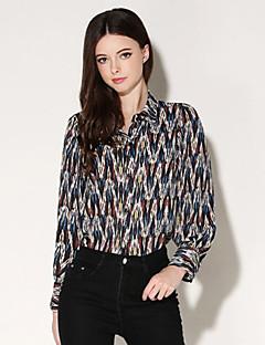 Polyester Blå / Rød Medium Langermet,Skjortekrage Skjorte Trykt mønster Vår Gatemote Fritid/hverdag Kvinner
