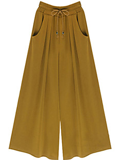 Women's Wide Leg Solid Black/Green/Yellow Wide Leg Pants,Casual/Day/Street chic