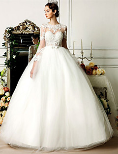 Da ballo Abito da sposa Lungo Con decorazione gioiello Tulle con Perline / Con fiocco / Di pizzo