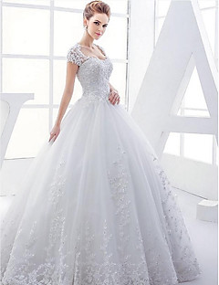 Ball Gown Wedding Dress - White Floor-length Queen Anne Satin / Tulle