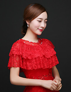 Red Wedding / Party/Evening Lace Capelets Sleeveless Wedding  Wraps