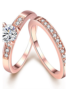 Ring Birthstones Wedding / Party / Daily / Casual Jewelry Zircon / Gold Plated / Opal Women Statement Rings 1set,7 / 8 Gold / White