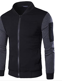 Men's Long Sleeve Casual / Sport Jacket,Polyester Color Block Black / Gray