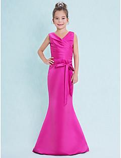 Lanting Bride® עד הריצפה סאטן שמלה לשושבינות הצעירות  בתולת ים \ חצוצרה צווארון וי עם בד בהצלבה