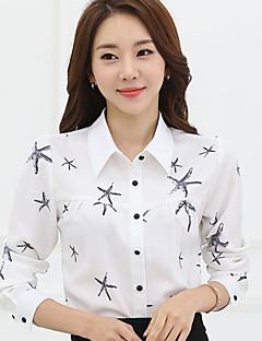 Majica Ženski,Plus veličine Ležerno/za svaki dan Print-Dugih rukava Kragna košulje-Proljeće Bijela / Više boja Tanko Poliester