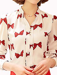 Camicia Da donna Con fiocco Colletto alla coreana Manica lunga Altro