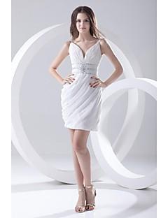 Lanting Bride® Short / Mini Chiffon Bridesmaid Dress Sheath / Column Spaghetti Straps with Pearl Detailing / Side Draping