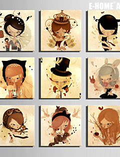 E-HOME® Stretched Canvas Art  Girls And Animals Series Decoration Painting MINI SIZE One Pcs