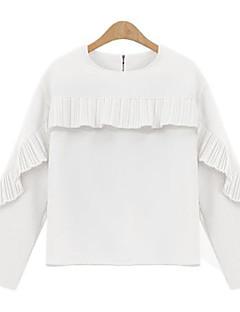 Langærmet Rund hals Medium Kvinders Hvid / Sort Ensfarvet Forår Sødt Casual/hverdag Bluse,Polyester