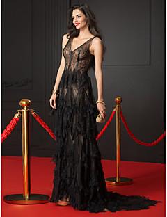ts couture® formell kveld kjole a-linje v-hals feie / børste tog blonder med blonder