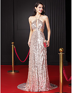 Formal Evening Dress Sheath / Column Halter Sweep / Brush Train Sequined with Beading / Sequins