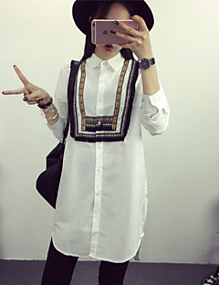 De las mujeres Estampado Camisa-Cuello Camisero-Algodón-Manga Larga