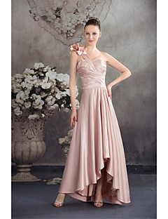 Lanting Bride® Asymmetrical Charmeuse Bridesmaid Dress Ball Gown One Shoulder with Flower(s)