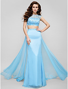 Formal Evening Dress - Pool Plus Sizes / Petite A-line Jewel Sweep/Brush Train Chiffon