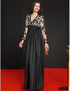 저녁 정장파티 드레스 - 블랙 A-라인 바닥 길이 V-넥 레이스 / 새틴 / 태피터