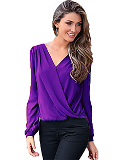 Women's Casual/Daily Sexy Summer T-shirt,Solid V Neck Long Sleeve Pink / Red / Black / Green / Yellow / Purple Cotton Thin