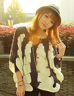 Women's Casual/Daily Street chic Regular Cloak / Capes,Jacquard Black Round Neck Long Sleeve Polyester Spring Medium