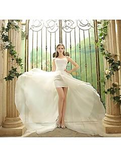 Sheath / Column Wedding Dress Asymmetrical Strapless Organza with Appliques