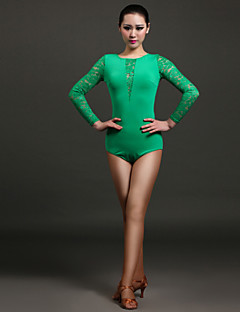 High-quality Viscose and Lace Latin Dance Leotards for Women's Performance (More Colors)