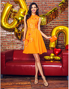 Cocktail Party Kleid - Orange Chiffon - A-Linie - knielang - Juwel-Ausschnitt