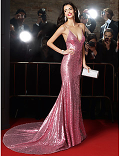 TS Couture Formal Evening Dress - Pearl Pink Trumpet/Mermaid Spaghetti Straps Court Train Sequined