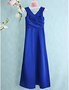 Lanting Bride® Floor-length Charmeuse Junior Bridesmaid Dress Sheath / Column V-neck with Side Draping