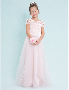 Lanting Bride® Floor-length Lace / Tulle Junior Bridesmaid Dress A-line Scoop with Lace