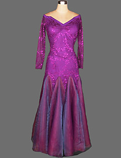 Ballroom Dance Dresses Women's Performance Crepe / Velvet Draped 1 Piece 7 Colors