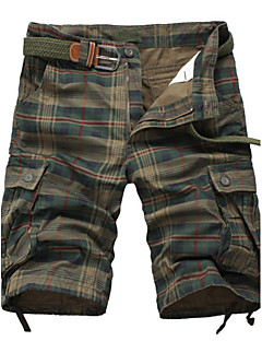Men's Shorts , Casual / Sport Print / Plaids & Checks Cotton / Acrylic K144