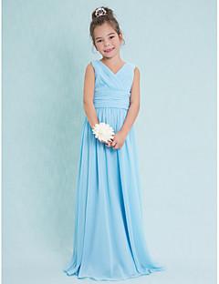 Lanting Bride® Floor-length Chiffon Junior Bridesmaid Dress Sheath / Column V-neck with Criss Cross / Ruching