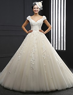 A-line Wedding Dress - Champagne Chapel Train V-neck Tulle