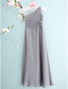 Junior-Brautjungferkleid-Silber Chiffon-Eng anliegend-Boden-Länge-Ein/Schulter