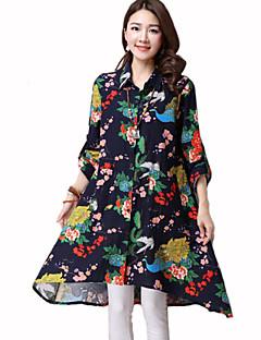 Vrouwen Street chic Lente Overhemd,Casual/Dagelijks Bloemen Overhemdkraag Lange mouw Blauw / Meerkleurig Katoen Medium