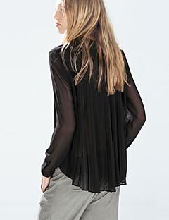 여성의 솔리드 셔츠 카라 긴 소매 셔츠,섹시 / 스트리트 쉬크 캐쥬얼/데일리 블랙 폴리에스테르 사계절 반투명