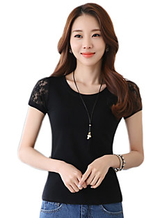 Slim Women Lace Stitching Short-Sleeved T-Shirt