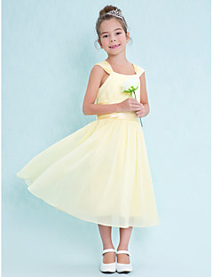Lanting Bride® Tea-length Chiffon Junior Bridesmaid Dress A-line Square with Draping / Ruching